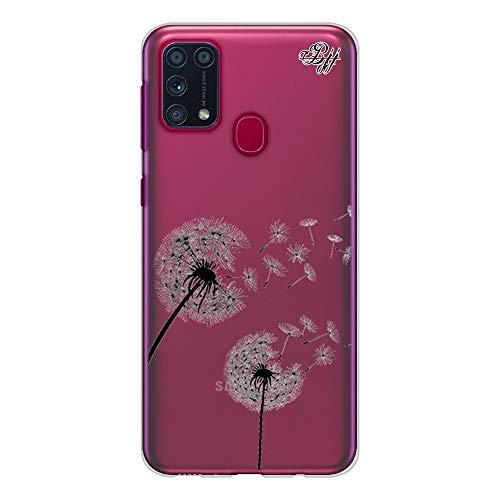 BJJ SHOP Funda Slim Transparente para [ Samsung Galaxy M31 ], Carcasa de Silicona Flexible TPU, diseño : Flores Diente de Leon