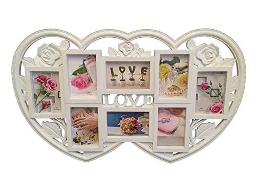 Lalia Fotorahmen Collage mehrere Fotos, Herzform XXL Bilderrahmen Liebsten/die Liebste zur Hochzeit zum Geburtstag weiß Kunststoff Fotos je 10x15cm Hochzeitsgeschenk für das Brautpaar (D8)