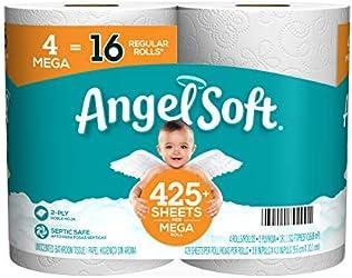 Angel Soft Toilet Paper Bath Tissue, 4 Mega Rolls = 16 Regular Rolls, 425+ 2-Ply Sheets Per Roll