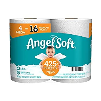 Angel Soft Toilet Paper Bath Tissue 4 Mega Rolls = 16 Regular Rolls 425+ 2-Ply Sheets Per Roll