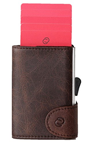 Smart Wallet mit Aluminium Kartenhalthalter (RFID Block) - Kompakte Geldbörse & Kartenetui- Für Karten, Geldscheine und Münzen - Ledergeldbörse aus Leder - C-secure (Braun)