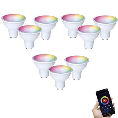 FlinQ Lot de 9 ampoules Smart LED GU10 | Lampes intelligentes 4G et Wi-Fi | Compatible avec Alexa et Google Assistant | Lampe Smart Home avec application pour Android et iOS | Classe énergétique A+