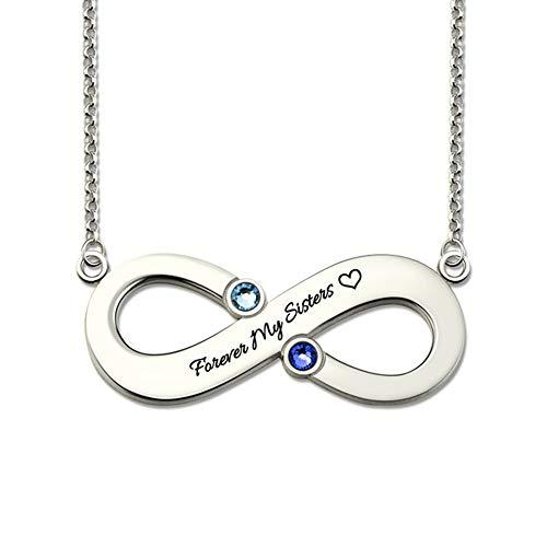 Infinity vorm gepersonaliseerde naam ketting met geboortesteen hanger gegraveerd met elke tekst 925 sterling zilveren sieraden voor vrouwen
