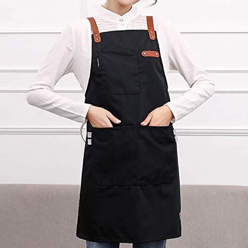 YXDZ Mode Küchenschürze Wasserdicht Und Ölbeständig Frauen Einkaufszentrum Supermarkt Café Schnell Restaurant Arbeitskleidung Kochen Nach Hause Lätzchen Schwarz