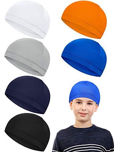 Geyoga 6 Pieces Child Skull Cap Sweat Wicking Cap Running Hats Milk Silk Helmet Liner Skull Caps for Boys Youth Kids (White, Grey, Dark Blue, Orange, Navy Blue, Black)