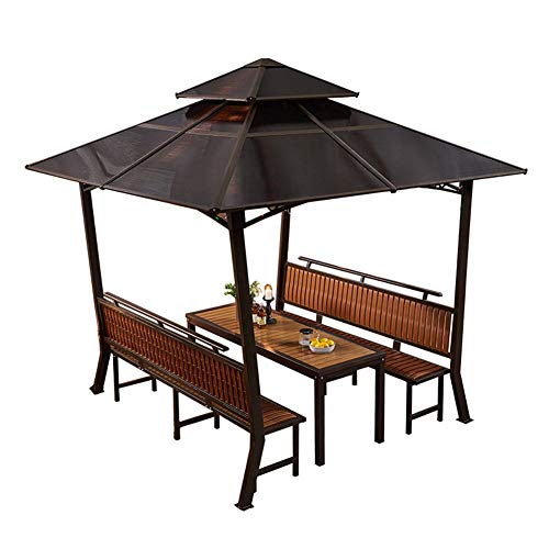 LANGWEI Outdoor Gazebo for Patios, 7.3FT 3-Layer Waterproof Hardtop Canopy, Patio Garden Tent with Tables and Chairs for Party Backyard Garden,Patio,Lawns,Parties BBQ,a