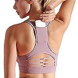 Lianhui - Sujetador deportivo para mujer, diseño de bolsillo trasero, resistente a los golpes, malla de empalme extraíble para el pecho, ropa interior y yoga