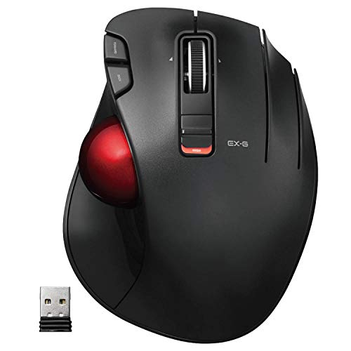 ELECOM 2.4GHz Wireless Thumb-Operated Trackball Mouse, 6-Button Function with Smooth Tracking, Precision Optical Gaming Sensor (M-XT3DRBK-G), Red, Red Ball