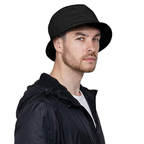 DOCILA Black Bucket Hat for Men Stylish Waterproof Rain Hats Crushable Fishing Hiking Lightweight Fisherman Sun Caps (Black)