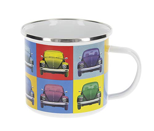 BRISA VW Collection - Volkswagen Käfer, Beetle Emaille-Kaffee-Tee-Tasse-Becher für Küche, Büro, Outdoor - Camping-Zubehör/Geschenk-Idee/Souvenir (emailliert/500ml/Multicolor/bunt)