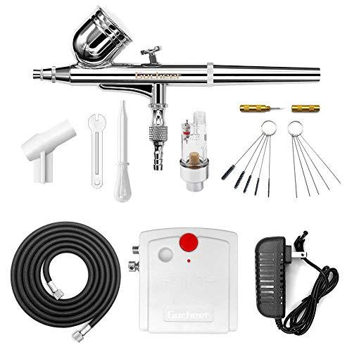 Gocheer Profi Dual Action Airbrush-Spritzpistole Set mit Kompressor, Druckluftschlauch und REINIGUNGSSET, Gravity, Lackierpistole für Werbeillustrationen