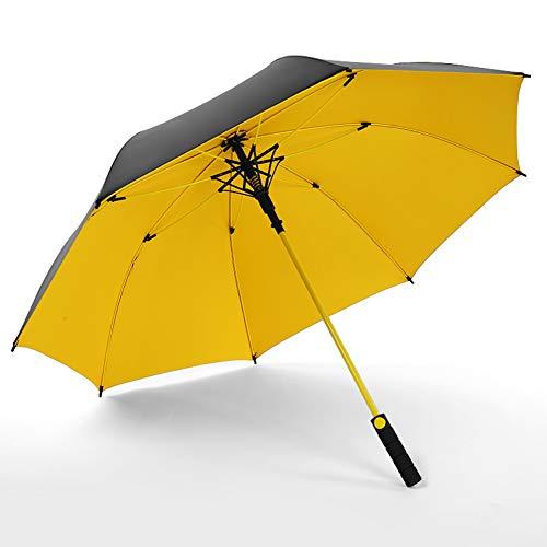 WZP-Gerader Regenschirm des Golfschirms, Glasfaserrahmen, winddichtes, belüftetes Doppelverdeck, sonnengeschützte Open Stick-Regenschirme für Männer und Frauen,Gelb