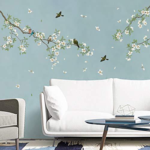 decalmile Stickers Muraux Oiseaux sur Branche Arbre Autocollant Mural Fleurs Blanc Décoration Murale Chambre Enfants Salon
