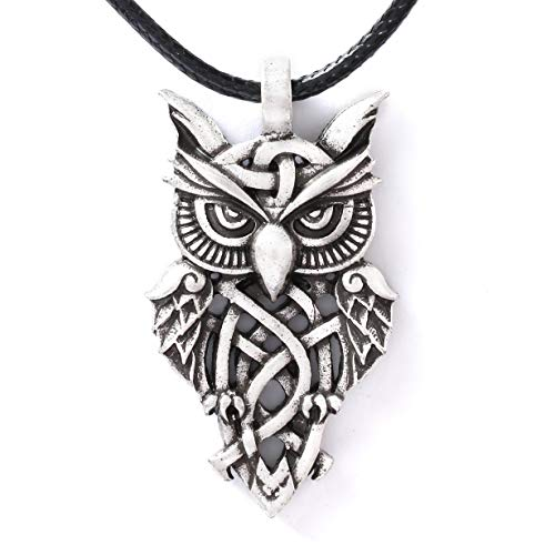 HAQUIL Owl Necklace - Metal Alloy, Celtic Owl Pendant - PU Leather Cord, 19.7'