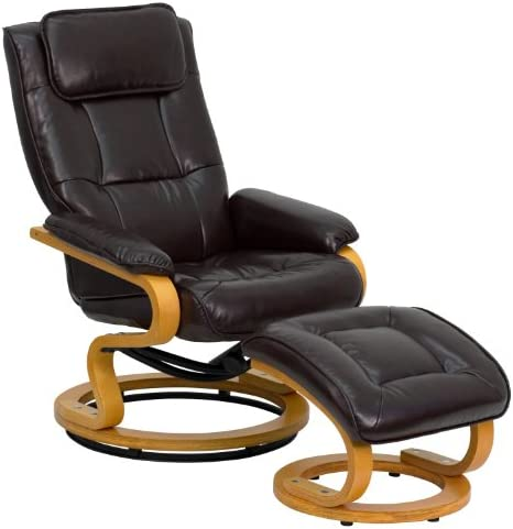Best Flash Furniture Contemporary Multi-Position Recliner and Ottoman with Swivel Maple Wood Base in Brow