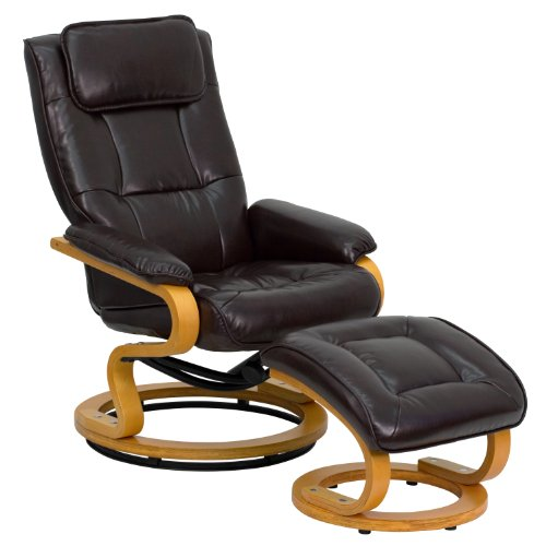 Flash Furniture Contemporary Multi-Position Recliner and Ottoman with Swivel Maple Wood Base in Brown Leather