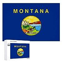 モンタナ旗 木製パズル大人の贈り物子供の誕生日プレゼント(50x75cm)1000ピースのパズル