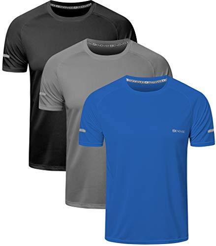 HUAKANG 3 Piezas Camiseta Hombre de Manga Corta Camiseta Hombre de Secado Rápido Ropa Deportiva Hombre para Correr(Black Grey Blue -L)