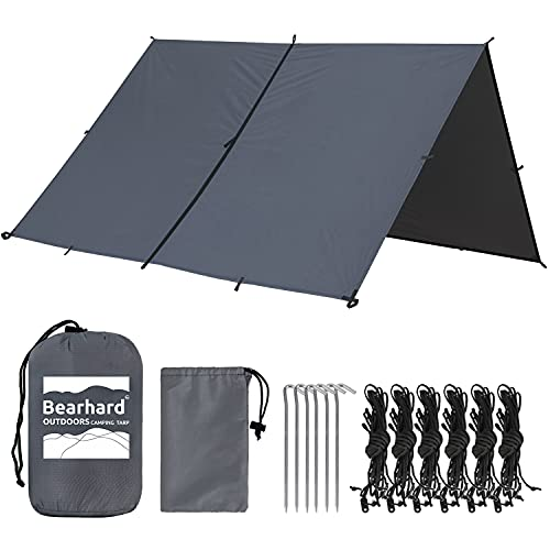Bearhard Waterproof Camping Tarp, Lightweight Hammock Rain Fly, UV Protection and PU 3000mm Waterproof Backpacking Tarp, 10x10ft Large Tent Footprint or Shelter Kit for Hiking and Outdoor Adventure
