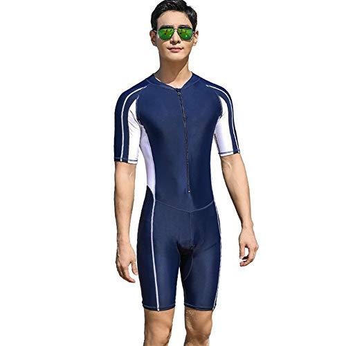 De una Sola Pieza Traje de baño más del tamaño de los Hombres de Manga Corta de Cinco Puntos Traje SwimmingTrunks Deportes Surf Ropa de protección Solar for Adultos (Color : Armada, Size : XXXL)