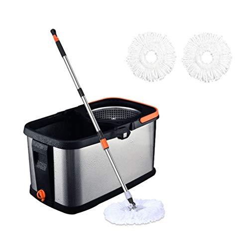 Trapeador Spinning Mop and Bucket Cleaning Set Presión de Mano Seco y húmedo Doble Uso Separable Ajustable Cabezal de Acero Inoxidable Ajustable * 2