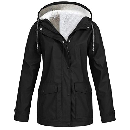 Alwayswin Damen Plüsch Plus Größen Regenmantel Einfarbig Regenjacke mit Kapuze Outdoor Verdickungs Warme Jacke Reißverschluss Wintermantel Winter Outwear Winddicht Regenfest