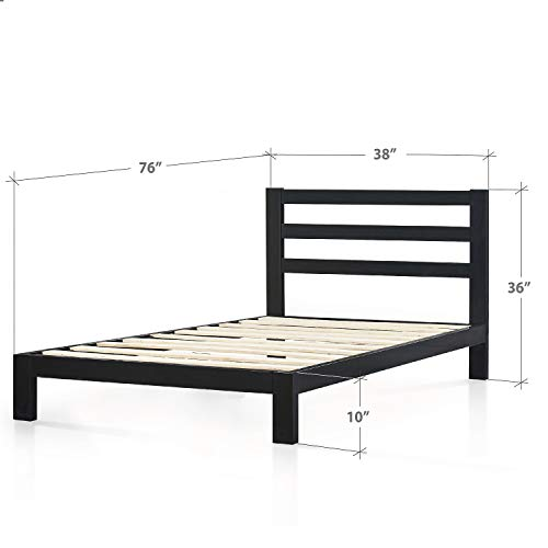Zinus Arnav Modern Studio 10 Inch Platform 2000H Metal Bed Frame / Mattress Foundation / Wooden Slat Support / With Headboard / Good Design Award Winner, Twin