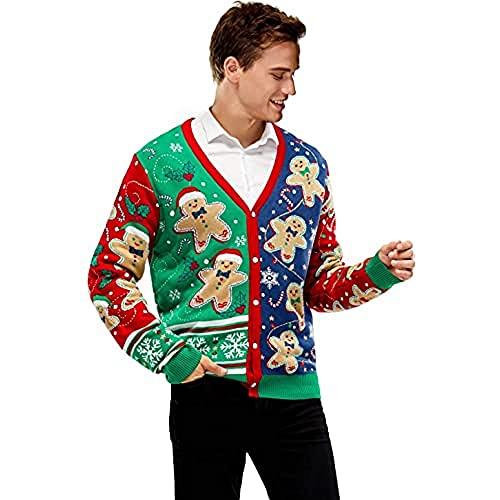 Herren Weihnachtspullover Strickjacke Unisex Hässliche Pulli Lustig Strickpullover Ugly Weihnachtspulli mit weihnachtlichen Motiven für Damen Herren Weihnachtsparty