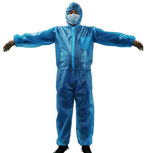 Shulky Einweg Overall Blau, Medical Schutzanzug für Leichte Malerarbeiten, Lackierarbeiten, Reinigungsarbeiten,Schutzkleidung mit Kapuze(Blau,M)