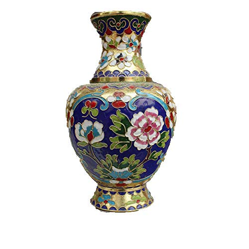 Antike Diverse Sammlerstücke Old Goods Cloisonne Vase Flasche Wohnaccessoires Kupfer Emaille Pfingstrose Vase