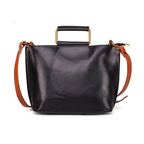 Bolso de Mujer Leather for mujer casual hombro de la cartera Bolsos Cruz Cuerpo mensajero del bolso de la taleguilla for Trabajo Diario Vida Bolsos de Hombro ( Color : Black , Size : 27x10x18cm )