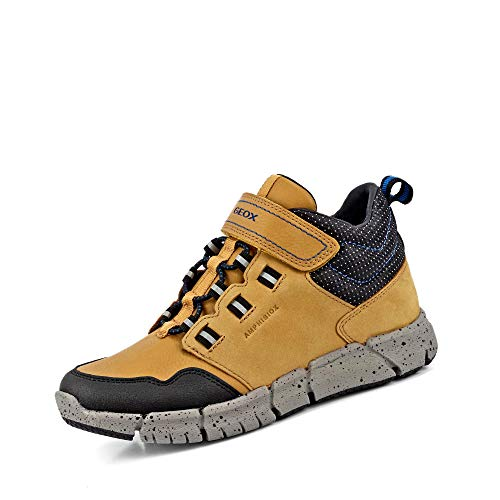 Geox J FLEXYPER Boy B ABX Chukka Boot, DK Yellow/ROYAL, 32 EU
