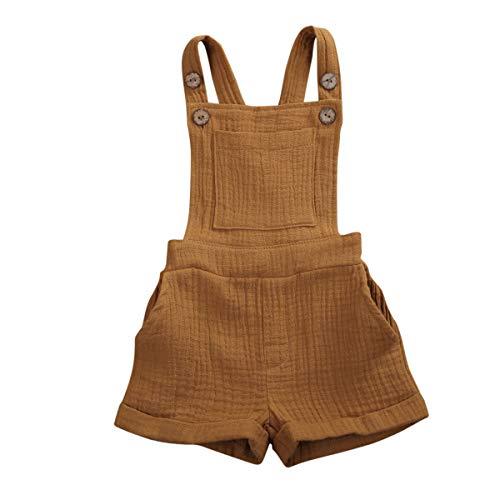 N / A Baby Baumwolle und Leinen Overall Säugling Strampeler Kinder Jungen Mädchen Latzhose mit Knöpfen Unisex ärmelloses Einteiler Outfits Kleidung (Khaki, 110)