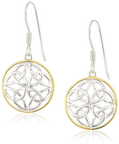 18k Yellow Gold Plated Sterling Silver Two Tone Celtic Knot Round Drop Earrings