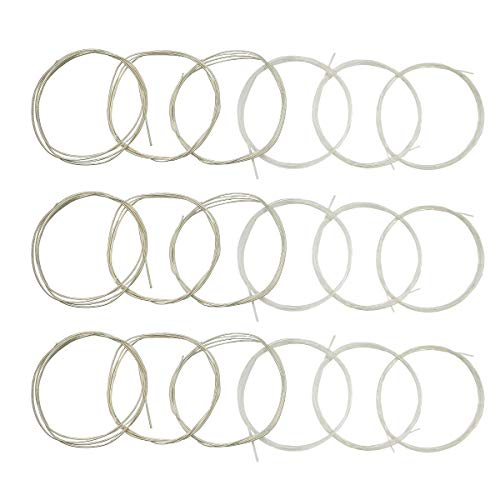 Classical Guitar Strings 3 full sets Clear Nylon for E-1st B-2nd G-3rd and Nylon Core Silver-Plated Copper Alloy Wound for D-4th A-5th E-6th Classical Guitar Strings Tie End