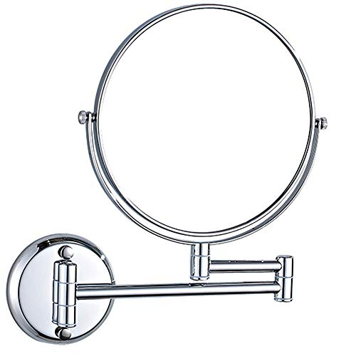 Ianqujiangxinqujianjunbaih Pequeño Espejo Piercing de baño de Pared de Doble Cara de Belleza Plegable Rotary Espejo for afeitarse (Color : Silver, Size : 6 Inches)