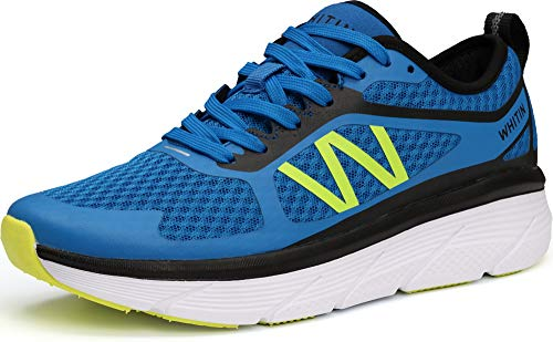 WHITIN Men's Cushioned Running Fitness Workout Shoes Sports Jogging for Male Athletic Gym Size 10 Breathable Lightweight Road Oversized Midsole Platform Sneakers Zapatos Deportivos De Hombre Blue 44