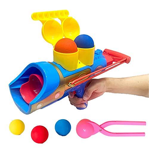 Pistola lanzador de bolas de nieve con asa, bola de goma suave y alicates de bola de nieve, listo para lanzar, juguete de lucha de bola de nieve
