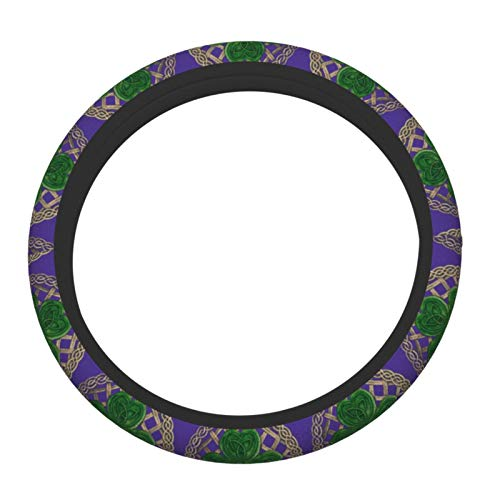 Shamrock Lattice And Celtic Knots On Black Car Accessories Cover Set Universal 15 Inch Steering Wheel Covers For Truck Suv Cars