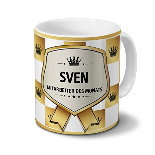 printplanet Tasse mit Namen Sven - Motiv Mitarbeiter des Monats - Namenstasse, Kaffeebecher, Mug, Becher, Kaffeetasse - Farbe Weiß
