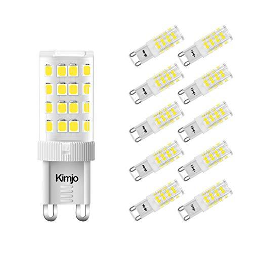 Kimjo Bombillas LED G9 5W Blanco Frío 6000K Sin parpadeo Equivale 40W Lampara Halógena, G9 LED 420LM 82Ra 230V 360°ángulo de haz No Regulable Paquete de 10