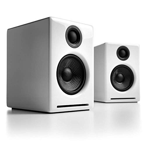 Audioengine A2+ Plus Wireless Speaker Bluetooth | Desktop Monitor Speakers | Home Music System aptX Bluetooth, 60W Powered Bookshelf Stereo Speakers | AUX Audio, USB, RCA Inputs,16-bit DAC (White)