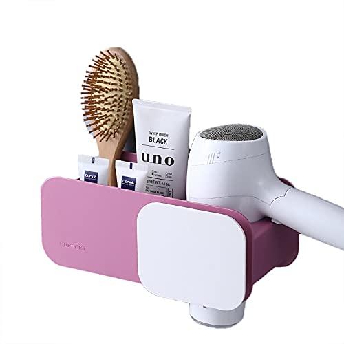 MARMODAY Soporte para secador de pelo, estante montado en la pared, organizador de cepillo de dientes de baño, color rosa