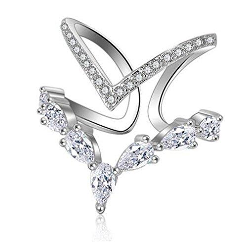 Summens Damen Ringe Partnerringe 925 Sterling Silber Verstellbar Personalisierte Modische Unregelm??ige Doppeldiamantring Er?ffnungringe