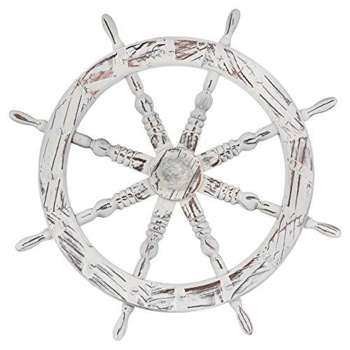 Nexos Steuerrad Holzrad Ø 60 cm 8 Speichen Farbe Whitewash Dekorad Wanddeko Speichenrad Terrassendeko Scheunendeko Schiffssteuerrad Laden-Deko