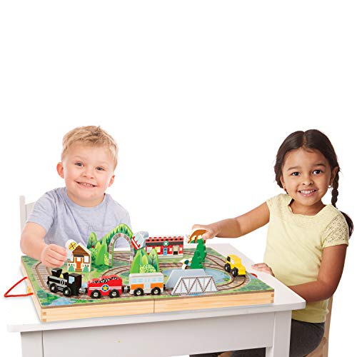 Product Image of the Melissa & Doug 17-Piece Wooden Take-Along Tabletop Railroad, 3 Trains,...