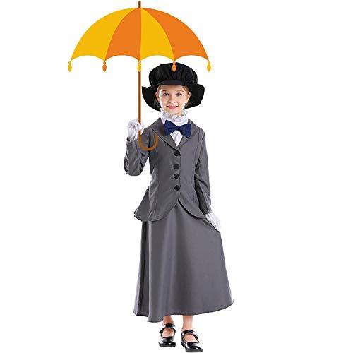 Disfraz de niñera mágica inglesa para niñas de Umarden, disfraz de Mary Poppins para niños, disfraz de fantasía para Halloween, Mardi Gras, vestido