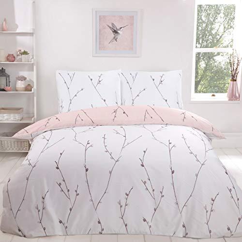 Sleepdown Willow Floral Blush Pink Ultra Soft Easy Care - Juego de Funda de edredón Reversible de Color Blanco, 135 x 200 cm + 1 Funda de Almohada de 80 x 80 cm