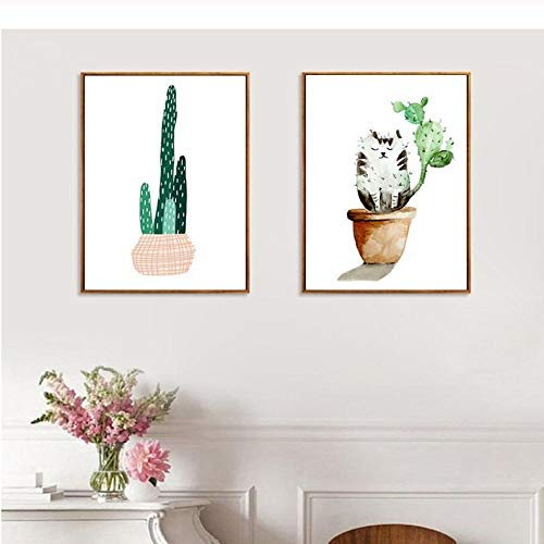 Nordic Art verse plant cactus poster kat bloempot canvas schilderij wooncultuur woonkamer slaapkamer olieverfschilderij wandafbeeldingen 40x60cmx2 niet ingelijst