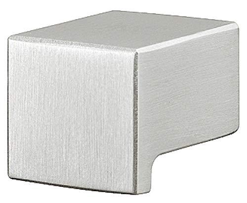 Gedotec Möbel-Knopf für Vitrine Küchengriff Küche Schubladen-Griff für Kleider-Schrank   H10051   19 x 25 x 15 mm   Edelstahl matt   1 Stück - Türknopf eckig für Kommoden